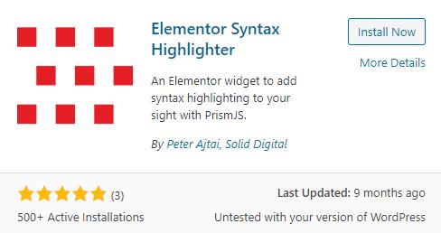 Elementor Syntax Highlighter